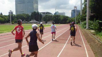 2018/07/11の颯走塾水曜マラソン練習会in織田フィールド2