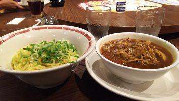 2018/08/15のランチはバーミヤンにて「肉盛りつけ麺~ゆず風味」